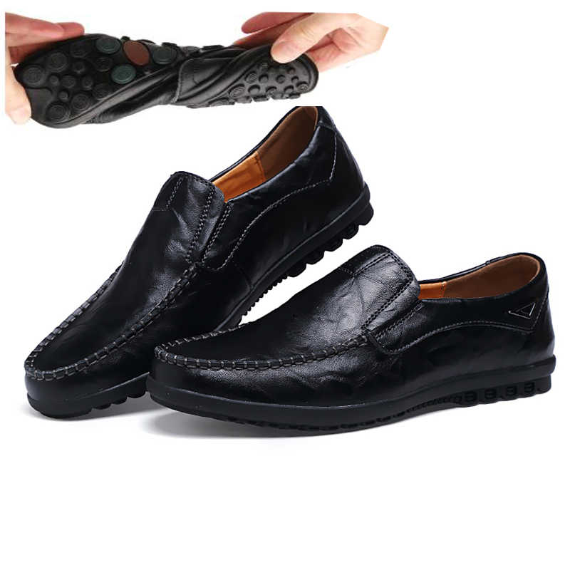 2019 Brand Genuine Leather Men Shoes Fashion Casual Shoes Breathable Men Flats Loafers Mens Moccasin Driving Shoes,Beige,6