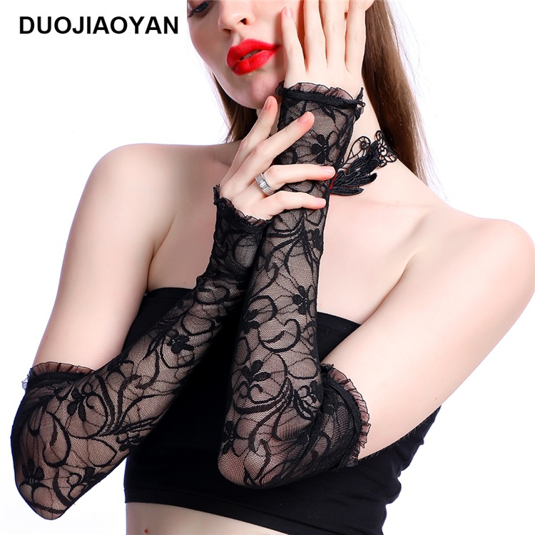 New Sleeves Arms Women's Black Lace Long Sleeves Summer Sunscreen Anti-Hook Silk Printing Outdoor Riding Anti-UV Sleeves