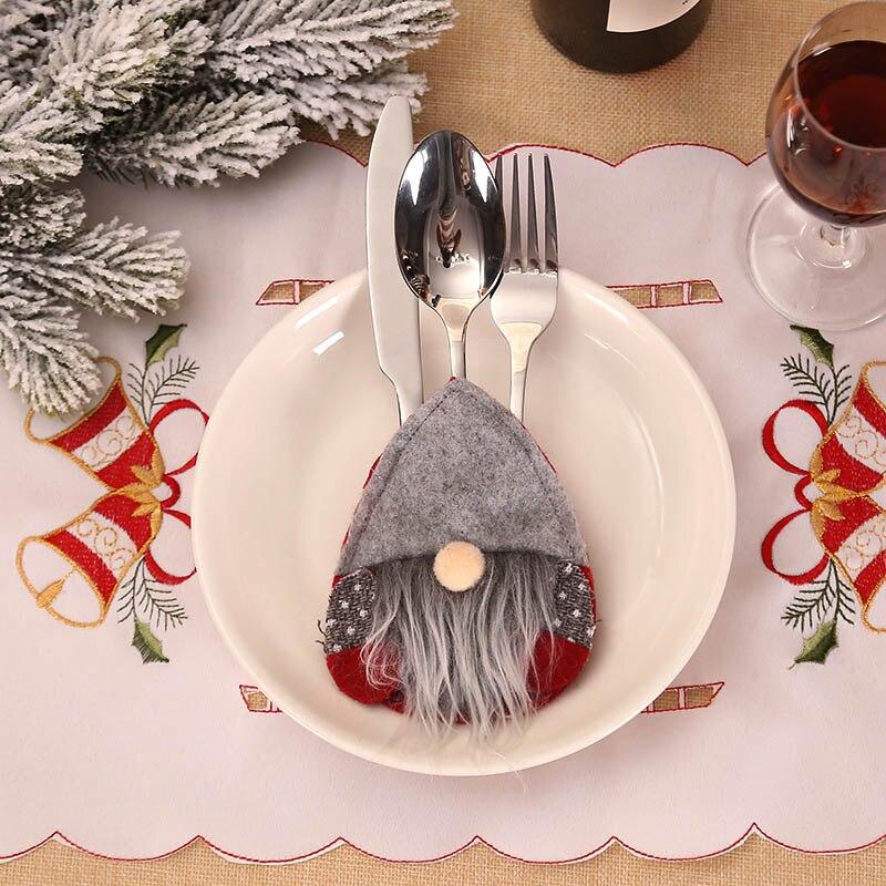 Шляпа Санты, олень, Рождество, Год, карманная вилка, нож, столовые приборы, держатель, сумка для дома, вечерние украшения стола, ужина, столовые приборы 62253 - Цвет: 2PD-63007-3