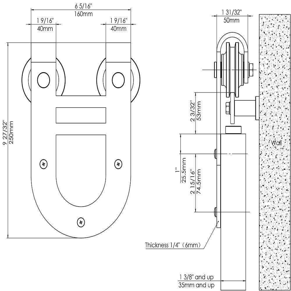 Rouleau de cintre de matériel de porte coulissante de grange de finition rugueuse noire mate simple, fer à cheval de bâti latéral - 3