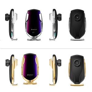 Image 5 - R1 R2 otomatik sıkma 10W araç kablosuz şarj kızılötesi indüksiyon Qi kablosuz şarj araba telefon tutucu araba şarjı için