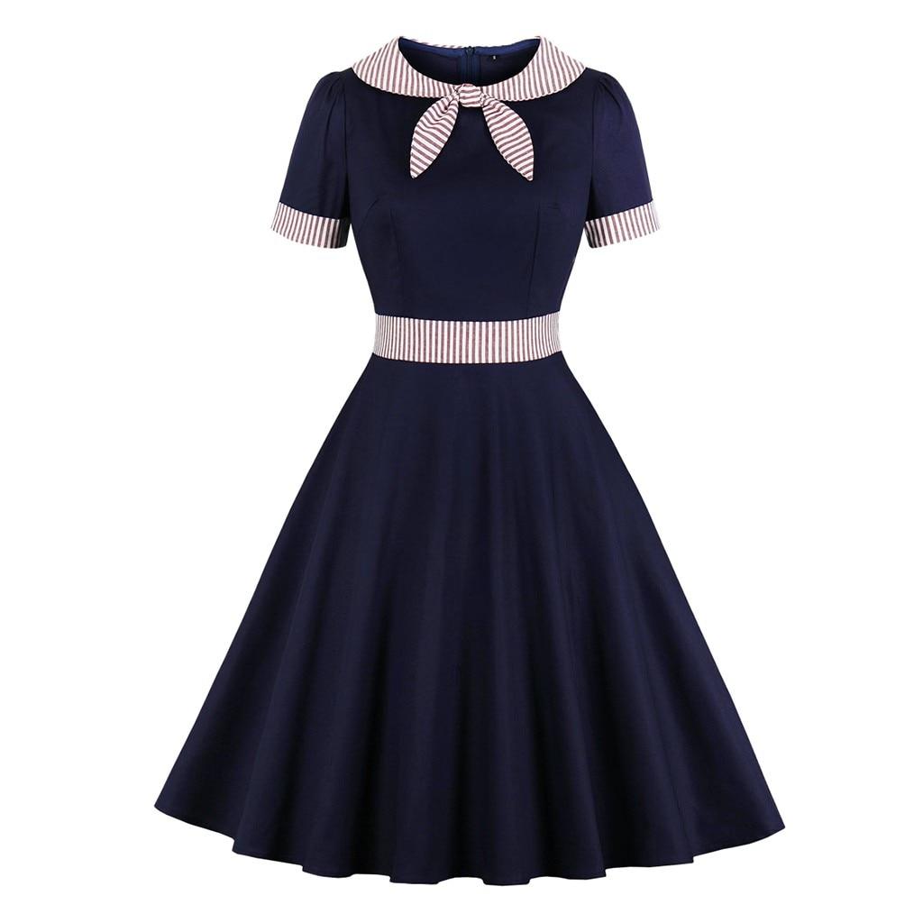 40@Christmas Dress Women Vintage Short Sleeve Christmas tie Dresses Housewife Evening Party Dresses Xmas dinner Vestidos