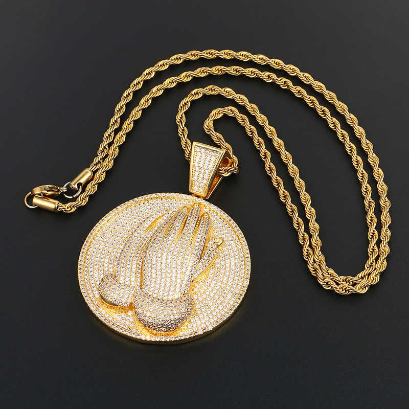 Bling Berdoa Tangan Liontin Kalung 925 Sterling Silver Liontin Emas Warna untuk Pria Hip Hop Fashion Perhiasan Es Keluar link Rantai