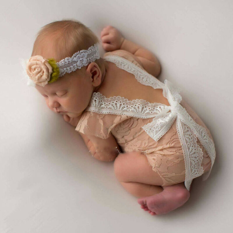 Fashion 0 Shipping Fee Newborn Baby Girl Infant Lace Floral   Romper   Photography Prop Costume