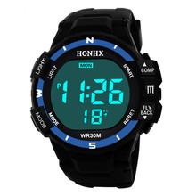 Sports Watch relogio Luxury Men Analog Digital Watch Sport LED Wrist Watches relogio digital 50M Waterproof Watch Men New tanie tanio WHooHoo Akrylowe 24cm 3Bar Cyfrowy Klamra ROUND 17mm 15mm Żywica Podświetlenie Wyświetlacz LED Moon phase Odporne na wodę