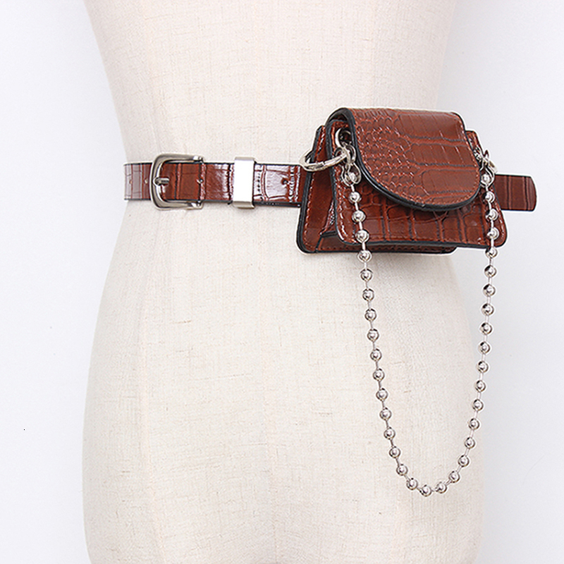TWOTWINSTYLE Vintage Synthetic Leather Belts For Female Beading Hit Color Patchwork Bag Women's Belt Fashion Autumn 2020 New