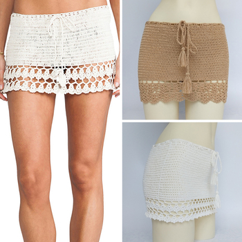 Elegant Handmade Cotton Crochet Mini Skirts Women Summer High Waist Bow Tie Skirt Ladies Beach Bikini Bottoms plus lace crochet contrast tie waist coat