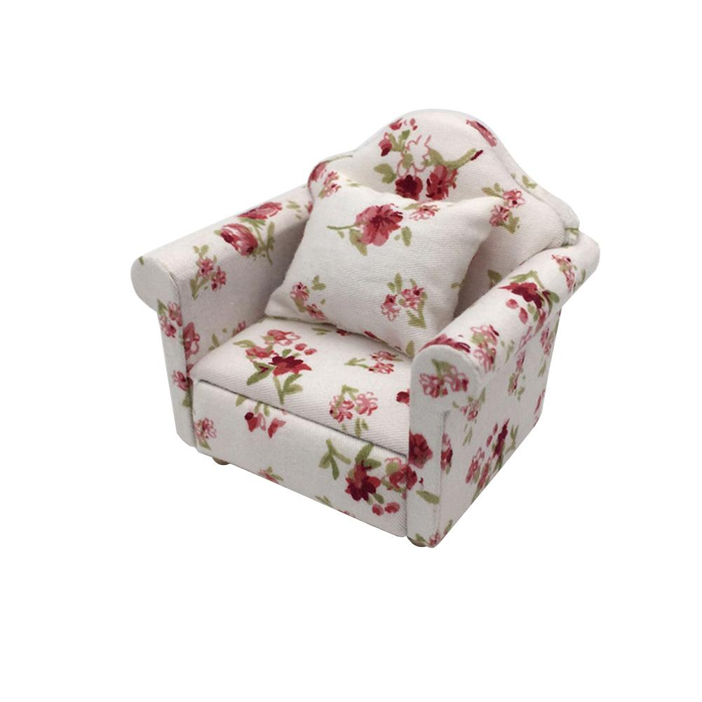 1/12 Mini Floral Print Sofa Cushion Model Dollhouse Room Decor Photography Prop Home Decorative Ornaments Kids Gift