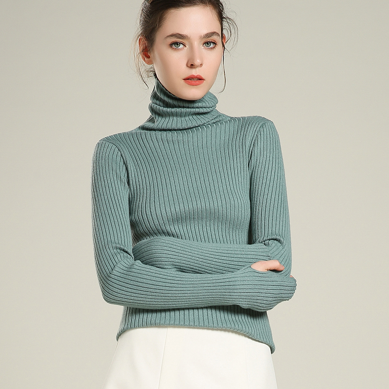 Turtleneck Women Sweater Knitted Jumper Finger Long Sleeves Pullovers Striped Stretch Fall Winter Basicshirt Short Sexy Sweaters