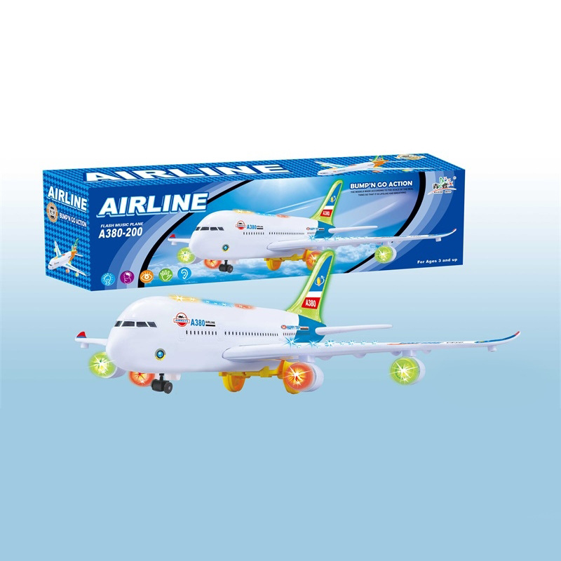 New Style Large Size Electric With Universal Wheel Light Music Airplane A380 Model Plane Toy CHILDREN'S Toy