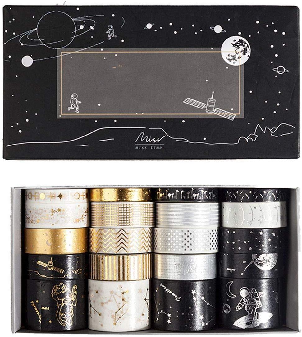 20 Pcs/set Cosmic Fantasy Retro Gold Washi Tape Set Adhesive Tape Diy Scrapbooking Sticker Label Japanese Stationery