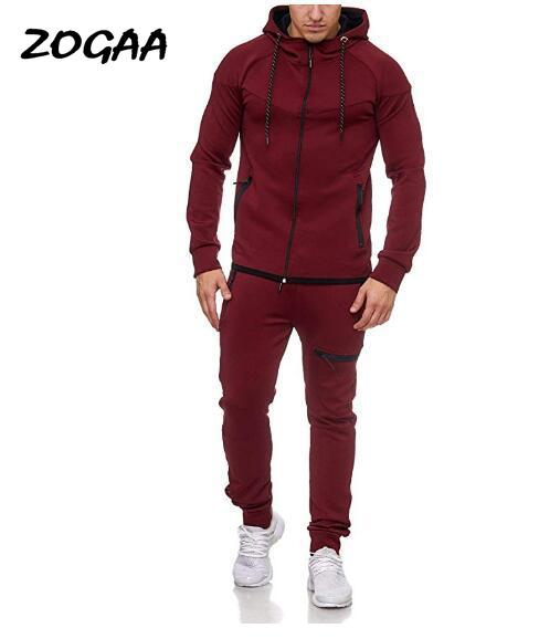 ZOGAA 2020 New Men's Casual Suit Hooded Solid Color Sports Leisure Suit Male Multicolor Optional