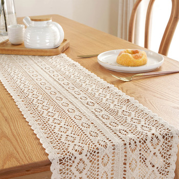 Rural Style Handmade Crochet Table Runner with Tassels Hollow Lace Tablecloth Cotton Cover Wedding Decor camino de mesa