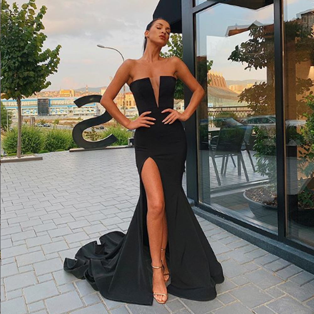 Abendkleider Strapless Long Evening Dress Party Elegant Sexy Deep Neck Court Train Black Prom Dresses Abiye Gece Elbisesi