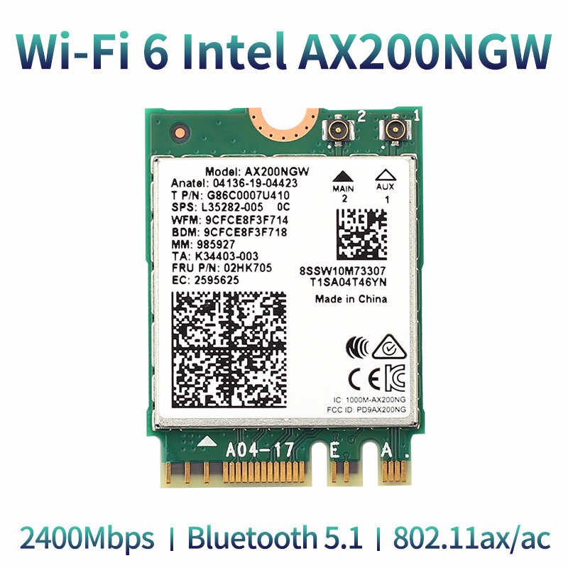 Sem fio 2400mbps wifi 6 intel ax200 802. placa de rede intel 2.4 5.1, adaptador para laptop 11ax/ac 9260 ghz 5ghz m.2 bluetooth 8265
