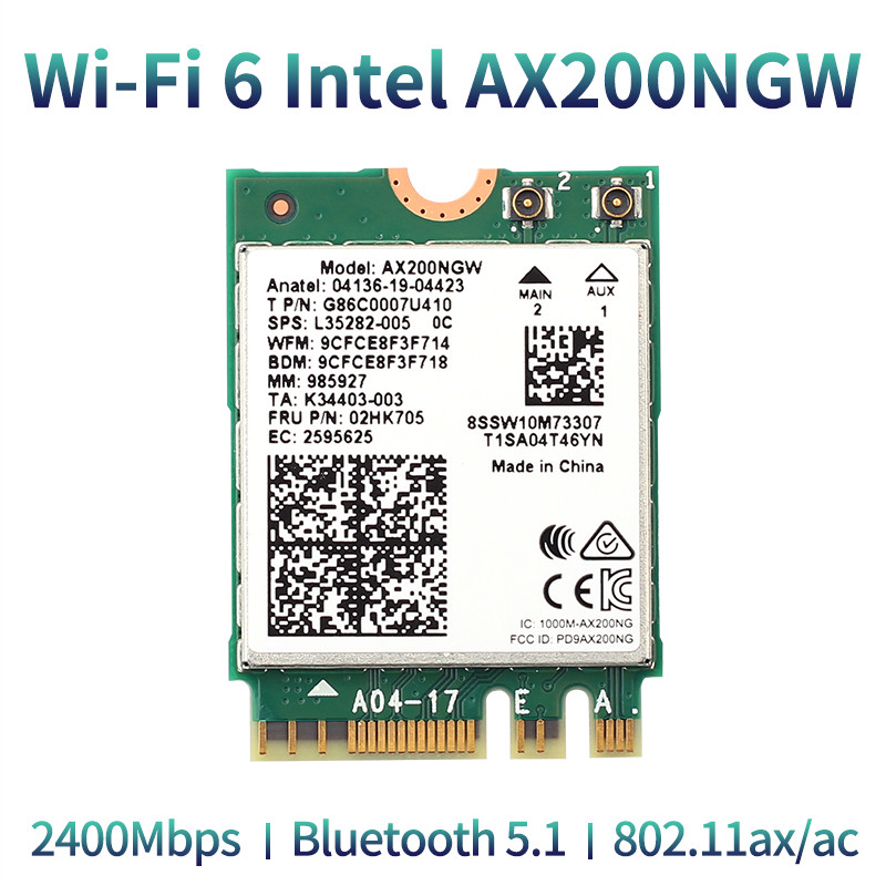 Wireless 2400Mbps WiFi 6 Intel AX200 802 11ax ac 2 4Ghz 5Ghz M 2 Bluetooth 5 1 Network Card Intel 9260 8265 Adapter For Laptop