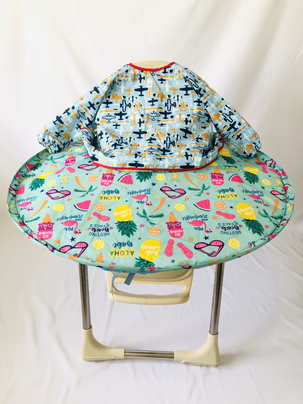 1 комплект-детское обеденное кресло с блюдцем Манхэттенский чехол для стульев и халаты для еды для младенцев и малышей - Цвет: Fruits and plane