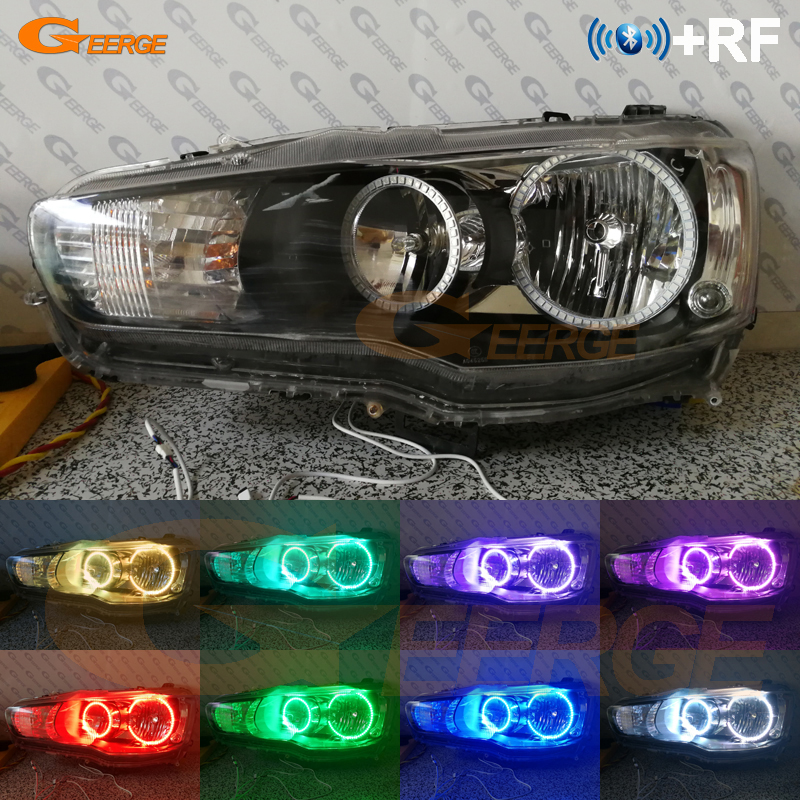 RF remote Bluetooth APP Multi-Color Ultra bright RGB <font><b>LED</b></font> Angel Eyes kit For <font><b>Mitsubishi</b></font> <font><b>Lancer</b></font> <font><b>X</b></font> 10 2007-2016 Halogen headlight image