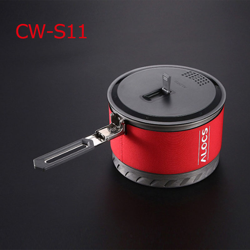 ALOCS Portable Energy Saving Pot Ultra-light Camping Cookware CW-S10 / CW-S11 Fast-Heating Outdoor Picnic