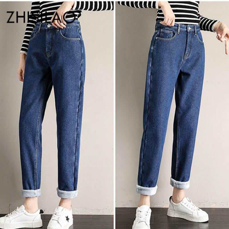 Winter Jeans Women Fur High Waist Straight Jeans Boyfriend Mom Loose Wide Leg Denim Pants Street Vintage Jeans Mujer 2019
