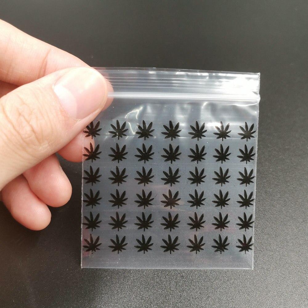 Black Weed Printing Baggies Sealed Bags Polybag 6 X 7 Cm 50 Pcs/lot(China)