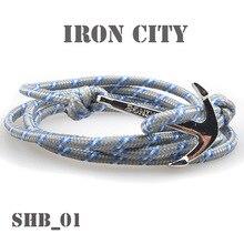 Vintage Silvery Color Anchor Vikings Bracelets For Men Women Charm Handmade Rope Chain Male Wrap Metal Sport Hooks Bracelet