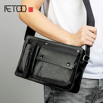 AETOO Leather slant bag, men's trend shoulder bag, cowhide postage bag