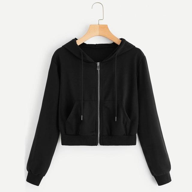 #H40 Short Hoodie Women Casual Solid Long Sleeve Zipper Sweatshirt Tops With Pocket Spring Autumn Shirts Hooded Hoodies Women 1