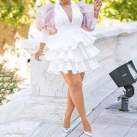 Women Dress Party Club White African Ruffles Mini Female Dresses Robe Falbala Mesh 2019 Lantern Sleeve High Waist Femme Vestiods