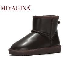MIYAGINA 2020 new fashion 100% prawdziwa skóra bydlęca skórzane buty śniegowe australia klasyczne buty damskie ciepłe buty zimowe dla kobiet