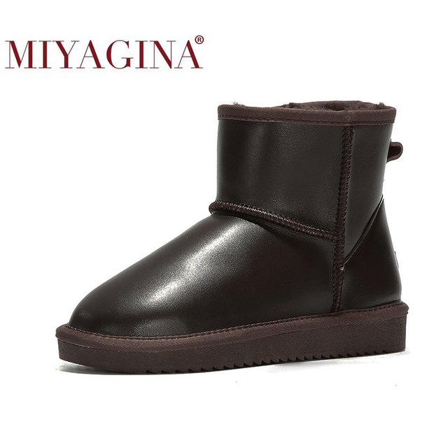 MIYAGINA 2020 new fashion 100% genuine cowhide leather snow boots australia classic women boots warm winter shoes for women