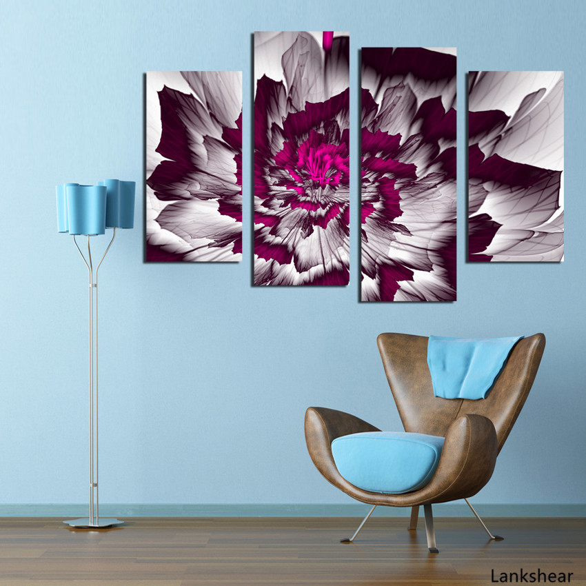 4 Pieces Canvas Painting Flower Simple Cute Paintings For Living Room Such Beauty Picture On The Wall Printed Unframed Calligraphy Aliexpress