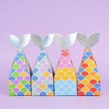 10 pièces Sirène Queue Cookie Bonbons Boîtes BRICOLAGE Boîtes de Papier Kraft Petite Sirène Fête Faveurs Cadeau Sacs Enfants Fournitures de Fête D'anniversaire