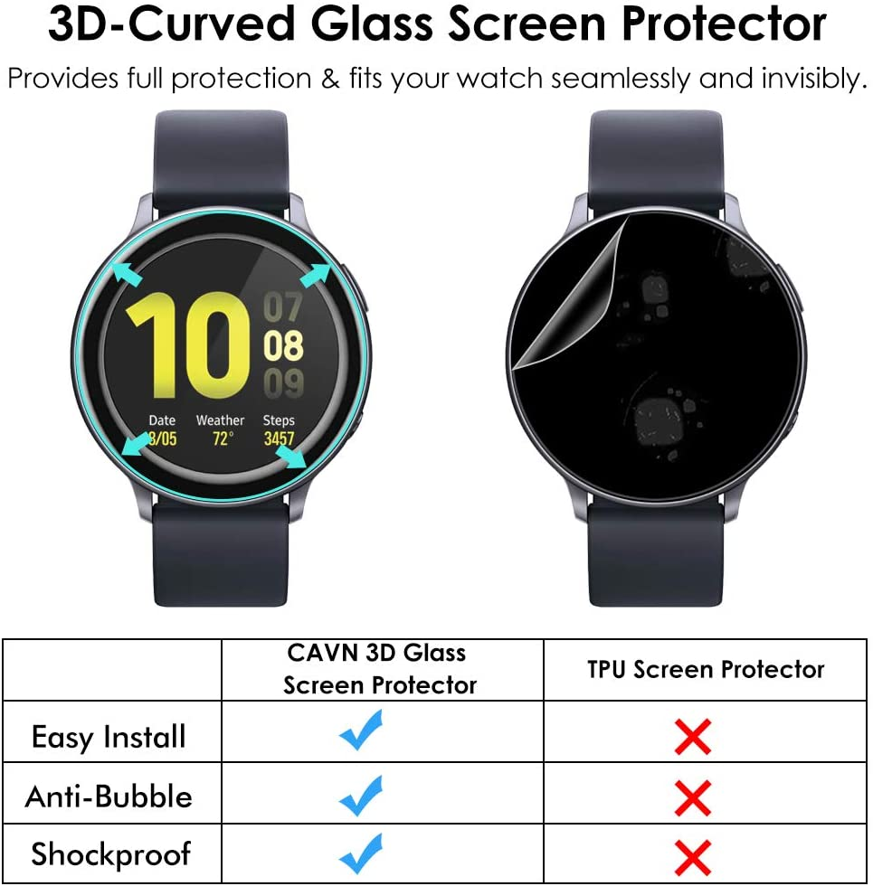 3D Full Screen Protector Film for Samsung Galaxy Watch Active 2 40mm 44mm HD Anti-Bubble Soft Curved Edge Screen Protector Cover 5