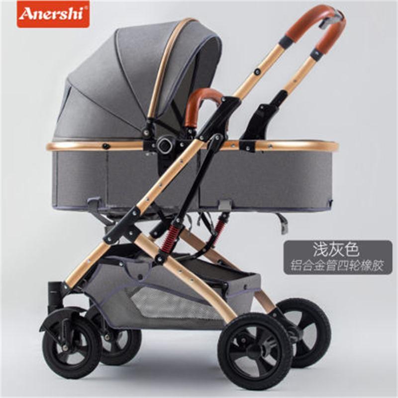 Haute paysage 2 en 1 bébé poussette ultra légère poussette pliante assise inclinable poche absorbant les chocs nouveau-né chariot