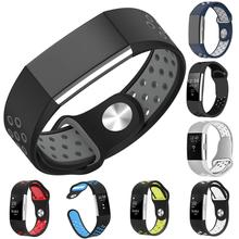Fashion Dual Color Hollow Out Silicone Watchband Wrist Strap for Fitbit Charge 2