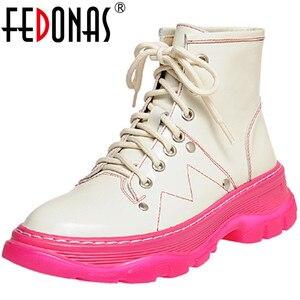 Женские ботильоны на платформе FEDONAS, вечерние ботильоны с перекрестной шнуровкой на массивном каблуке, Осень-зима 2020