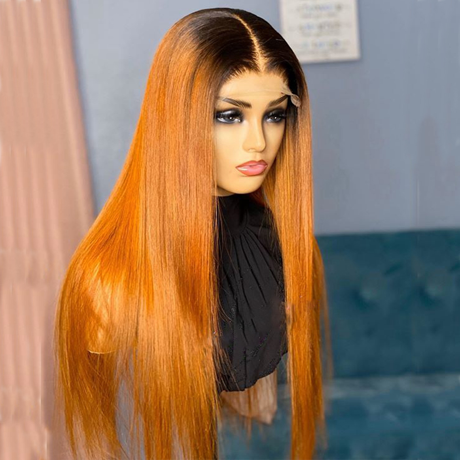 Eversilky Silky Straight Ombre Ginger Blonde Human Hair 13X6 Lace Front Wigs Silk Base Lace Front 180Density Lace Wigs for Women