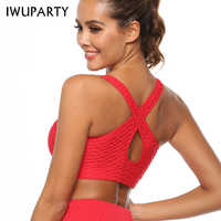 Sexy Red Criss Cross Yoga Sports Bra Top for Fitness Clothing Push Up Workout Bra Active Wear Women Jacquard Bubble Brassiere