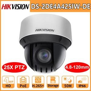 Hikvision PTZ IP Camera Security DS-2DE4A425IW-DE Original HD 4MP 4.8-120mm 25X Zoom Network PoE H.265+ IK10 ROI WDR DNR Webcam