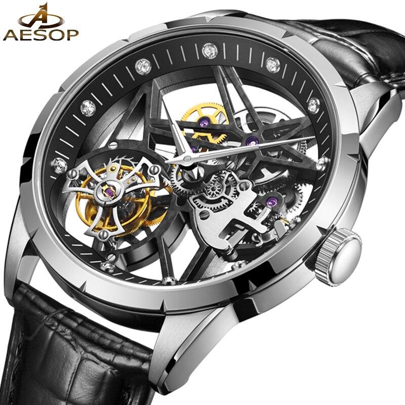 AESOP Hollow Skeleton Automatic Flying Tourbillon Watch for Men Mechanical Thin Dial Business Fashion Wristwatch Reloj Hombre