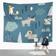 цена на Animal Tapestry Fox Goat Elk And Rabbit In Forest Home Dorm Decor Large Tapestry Wall Hanging Blanket For Living Room Bedroom