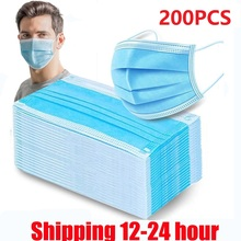 200PCS Fast delivery 3-layers masks Face Mouth Masks Non Woven Disposable Anti-Dust Masks Meltblown cloth Masks waterproof