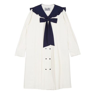 Image 4 - Navy blue tie bow dress for women DEL LUNA Hotel same IU Lee Ji Eun Long and Loose Japanese Dresses   Autumn and summer-in Dresses from Mother & Kids