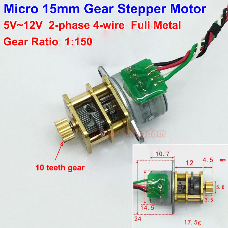 DC 5V 2-phase 4-wire Full Metal Gear Stepper Motor Precision Gearbox Robot Car