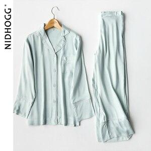 Image 4 - New Elegant High end 6 Color Pajamas Viscose Solid Pijamas Long Sleeve Lounge Wear Women Satin Sleepwear Womens Home Clothes