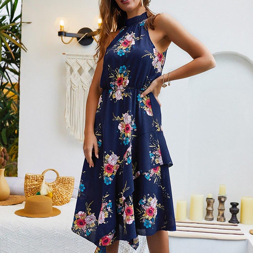Hot Women Bohemian Floral Dress Sleeveless Halter Dress Sundress Summer Beach hh88