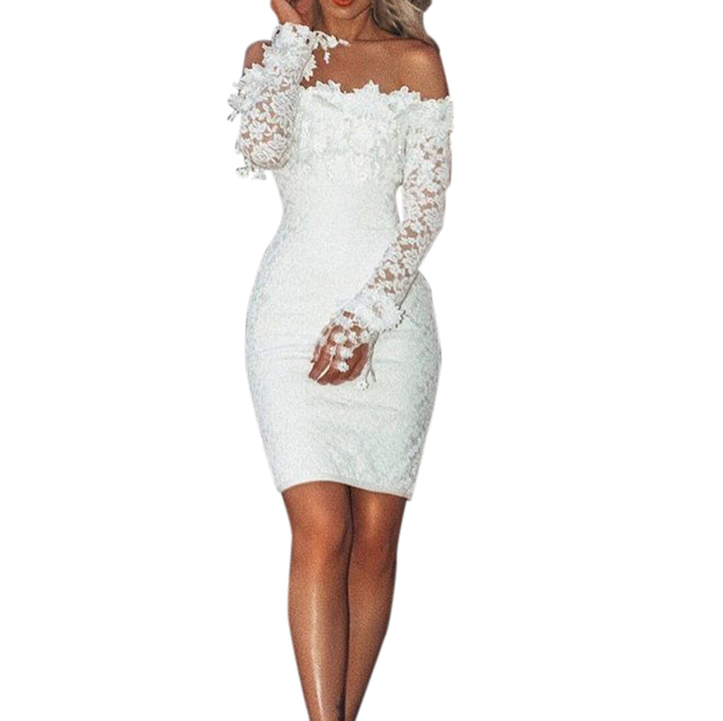vestido de mujer Women Sexy Lace Solid Slash Neck Off Shoulder Cocktail Party Elegant Dress femme
