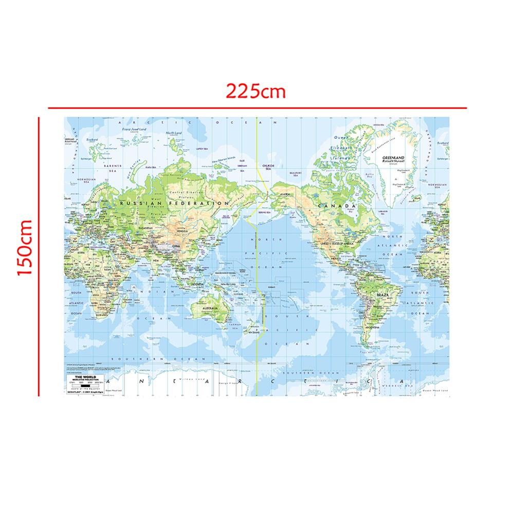 The World Map Mercator Projection 150x225cm Foldable Non-woven Waterproof World Map Without National Flag