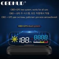 Pantalla frontal de coche C5 OBD2 HUD, navegación GPS, proyector de velocidad Digital, alarma de seguridad, temperatura de aceite, presión, pantalla grande